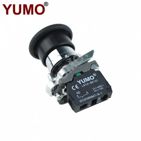 1NO 1NC Emergency Stop Self-locking Black Push Button Switch